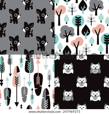 Seamless scandinavian pastel woodland kids illustration deer owls tree and feathers background pattern set in vector - stock vector