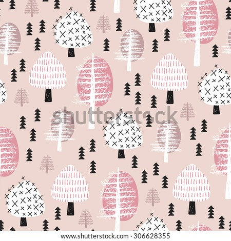 Seamless scandinavian style illustration forest tree christmas theme background soft pastel powder pink pattern in vector  - stock vector