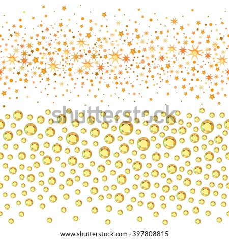 Seamless scattered circles & stars, rhinestones isolated on white background, vector illustration - stock vector