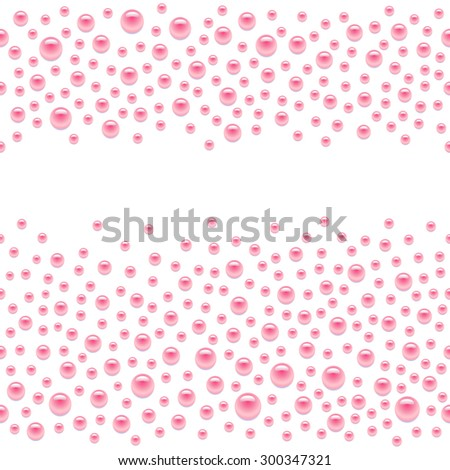 Seamless scattered pink pearls (gems, rhinestones) isolated on white background, vector illustration