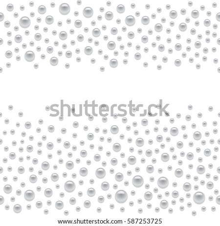 Seamless scattered silver pearls isolated on white background, vector illustration