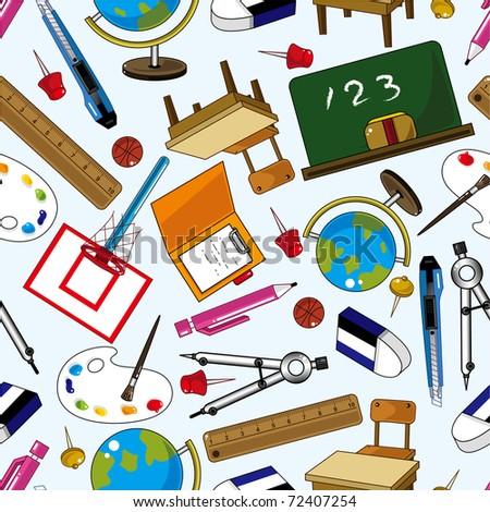 seamless school element pattern - stock vector