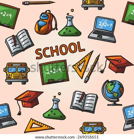 Seamless school handdrawn pattern with - globe, notebook, blackboard, backpack, text book, graduation cap, school bus, science bulb. - stock vector