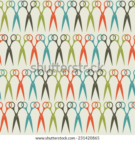Seamless scissors pattern in vintage colors. Vector background. - stock vector