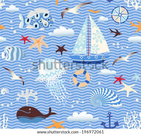 Seamless sea pattern. Vector illustration with marine elements on wave background.