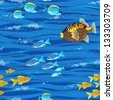 Seamless sea pattern with tropical fishes - stock vector