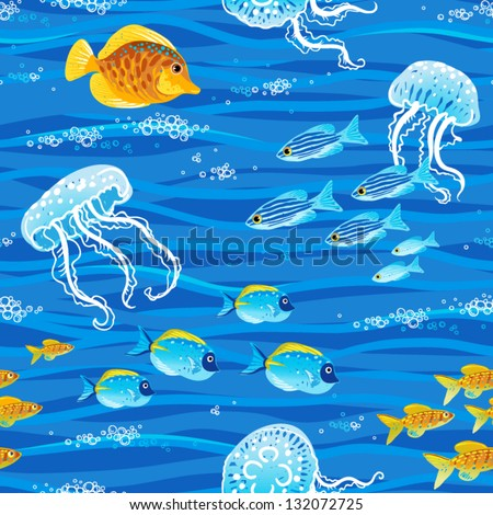 Seamless sea pattern with tropical fishes and jellyfishes - stock vector