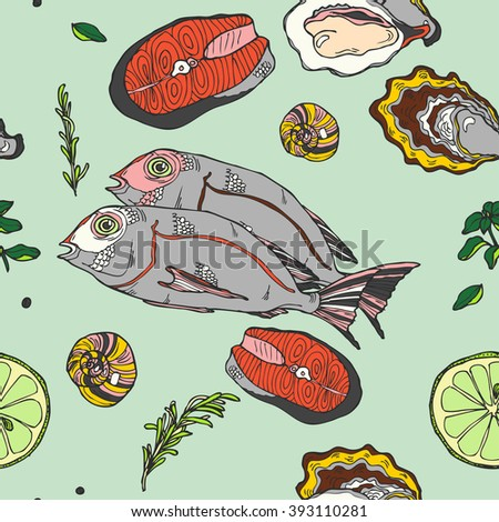 Seamless seafood restaurant pattern with hand drawn oyster and fish in vector - stock vector