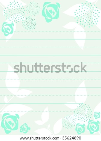 seamless seagreen floral pattern letterpad, vector illustration