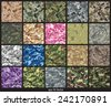 Seamless set of camouflage pattern vector - stock