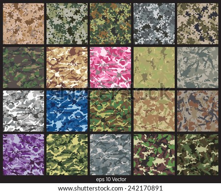Seamless set of camouflage pattern vector - stock vector