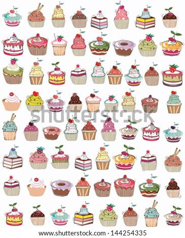 seamless set of cup cakes- VECTOR - stock vector