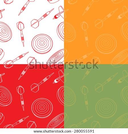 Seamless set of  dartboards and dart arrows. - stock vector