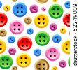 Seamless sewing buttons colorful vector pattern (print, swatch, background) - stock vector