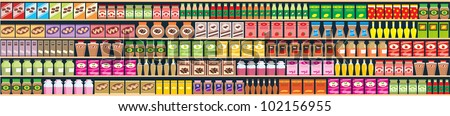 Seamless shelves with products banner. vector - stock vector