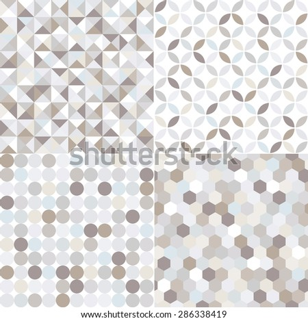 seamless shiny silver geometric pattern - stock vector