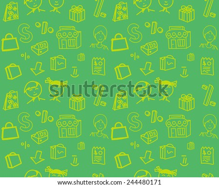 Seamless shopping pattern with shop & store elements and kids in simple outline - stock vector