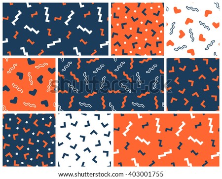 Seamless simple geometrical patterns. Vector geometrical backgrounds set.  - stock vector