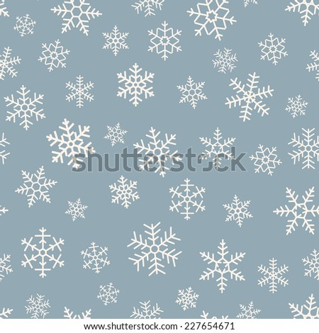 Seamless simple pattern of different  geometric snowflakes on blue background - stock vector