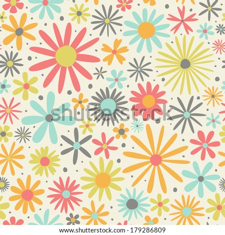 Seamless simple pattern with multicolored flowers - stock vector