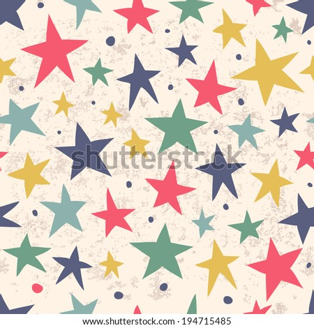 Seamless simple pattern with stars for your design. Seamless pattern can be used for wallpapers, pattern fills, web page backgrounds,surface textures. - stock vector
