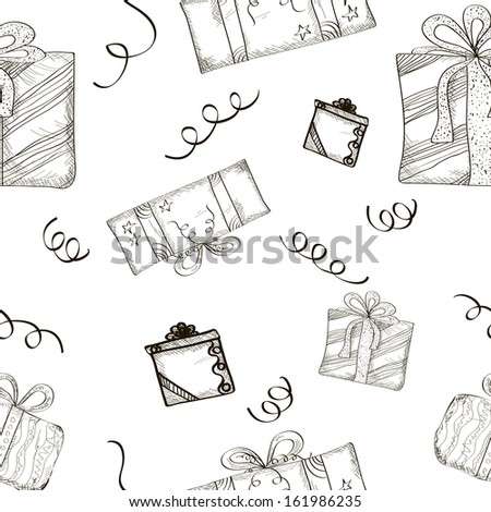 Seamless Sketch Gifts Background. Vector Illustration.