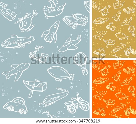 Seamless Sketch Kids Style Transportation - Variation of color and collection of isolated objects - stock vector