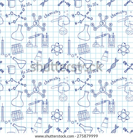 Seamless sketch of science doddle elements on notebook. - stock vector