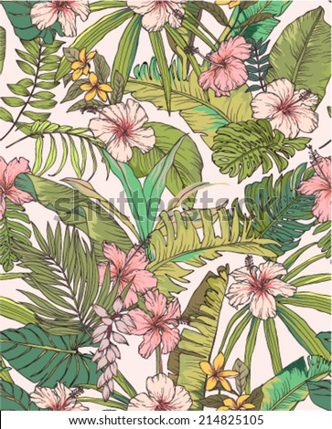 seamless sketched tropical blossom flower summer print vector pattern background - stock vector