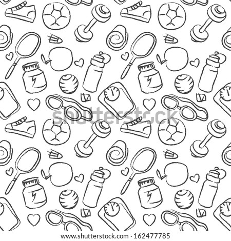 Seamless sketchy pattern of healthy lifestyle icons and elements  - stock vector