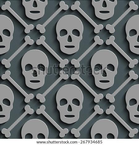 Seamless Skull Pattern. Abstract Gray Background. Vector Regular Texture - stock vector