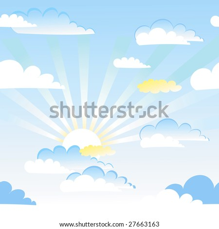 Seamless sky and clouds vector