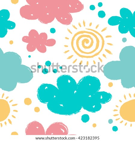 Seamless sky background with clouds and sun.