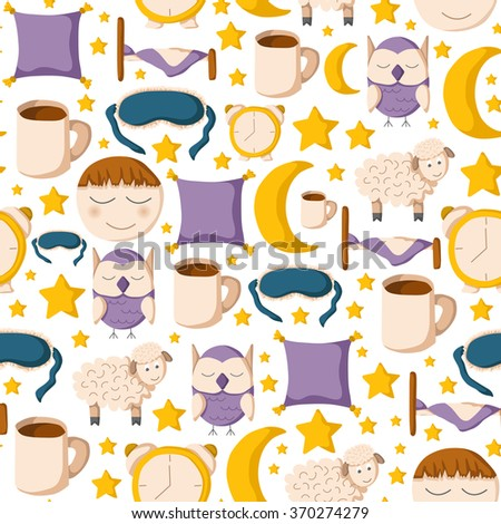 Seamless sleep background - stock vector