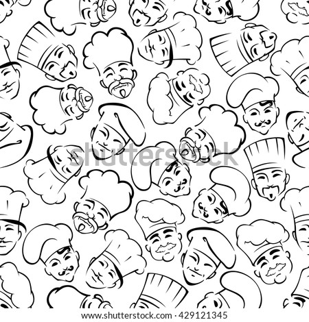Seamless smiling chefs in uniform toques pattern for restaurant interior or scrapbook page backdrop design usage with black sketches of moustached cooks and bakers over white background - stock vector