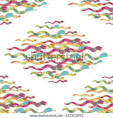 seamless snake pattern - stock vector