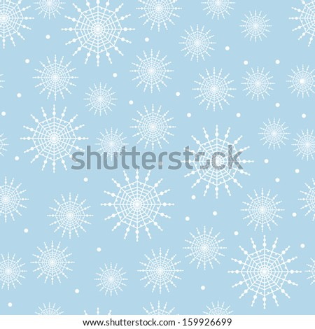 Seamless Snowflake Pattern Background - stock vector