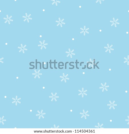 Seamless snowflake pattern blue background,vector - stock vector