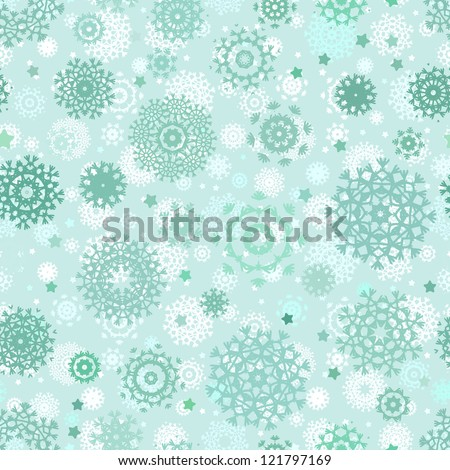 Seamless snowflakes background for winter. And also includes EPS 8 vector - stock vector