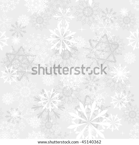 Seamless snowflakes background for winter and christmas theme - stock vector