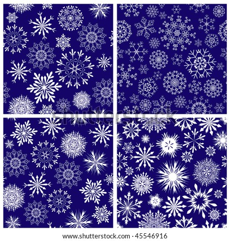 Seamless snowflakes backgrounds set  for winter and christmas theme - stock vector