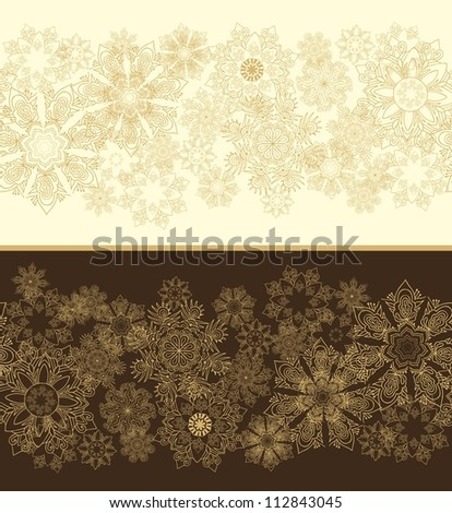 seamless snowflakes christmas border - stock vector