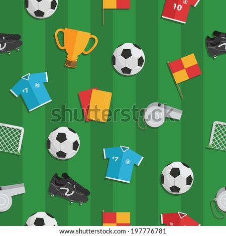 seamless soccer pattern with football, shirts, boots and whistles, with clipping path - stock vector