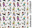 seamless soccer player pattern - stock vector