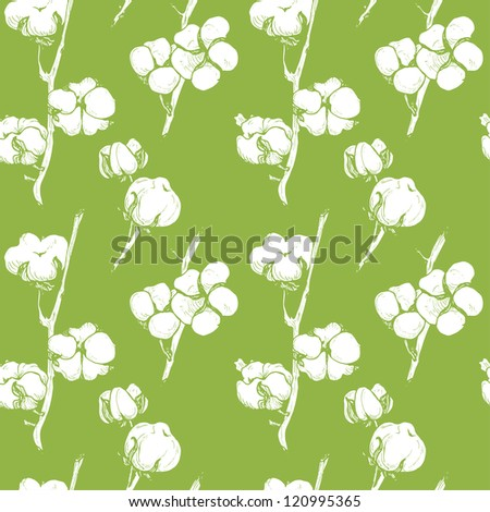 Seamless soft cotton floral green pattern - stock vector