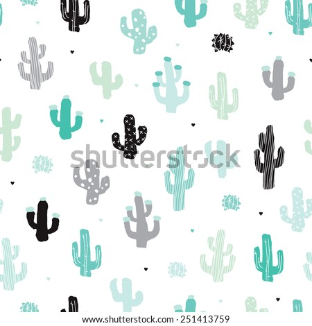 Seamless soft mint and blue cactus forest illustration background pattern in vector - stock vector