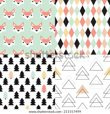 Seamless soft pastel geometric christmas tree triangle and fox illustration background set collection pattern in vector - stock vector