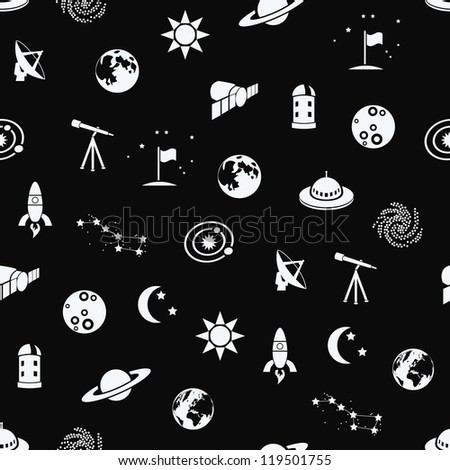 seamless space patter - stock vector