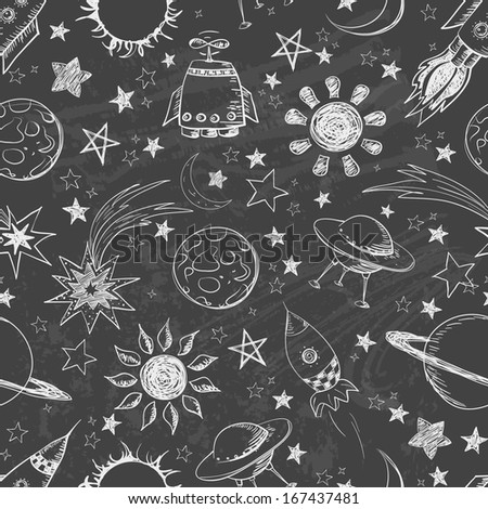 Seamless space pattern. Can be used for wallpaper, pattern fills, textile, web page background, surface textures. Vector illustration.  - stock vector
