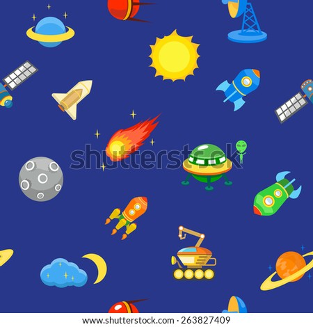 Seamless space pattern.  Planets, rockets and stars. Cartoon spaceship icons. Childish background.  - stock vector